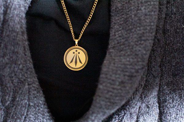 Awen Anhänger Gold Druidensymbol